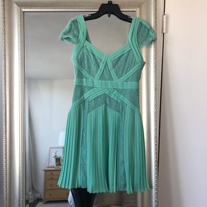 BCBGMAXAZRIA Mint Green Pleated Lace Dress
